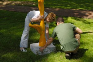Scultors Guild installing artwork on Governors Island
