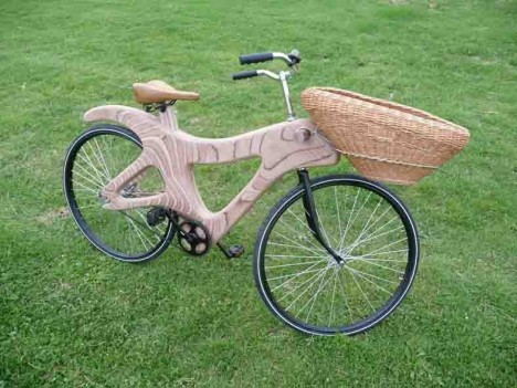 Prototype of West 8's wooden bicycle.