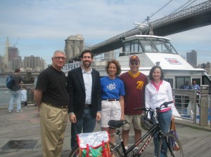 Free Ferry Service to Brooklyn kicked off last Saturday. Ken Fisher, State Senator Daniel Squadron, Leslie Koch, Richard Bashner, and Regina Myer at Fulton Ferry landing prior to the first ferry's departure.
