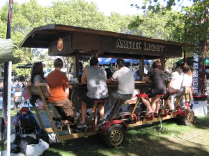 Many visitors ate and drank at the New Island Festival. Here, visitors enjoy a beer on the beer bike