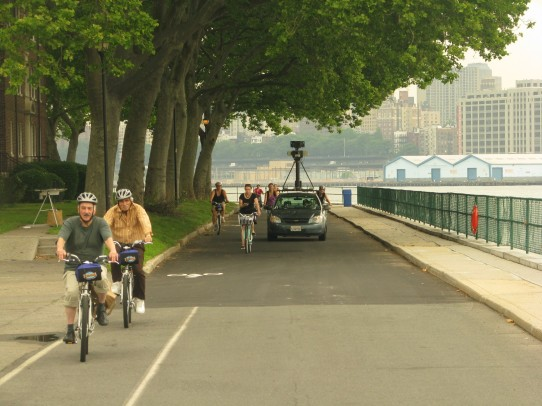 The Google Street View car in action on Governors Island. (Courtesy Governors Island Blog)