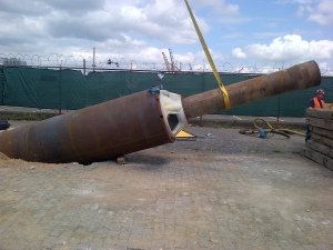 This is the conductor pipe in Brooklyn which helped guide the drill through the bedrock under the Buttermilk Channel to the island. Image Courtesy of the Trust.