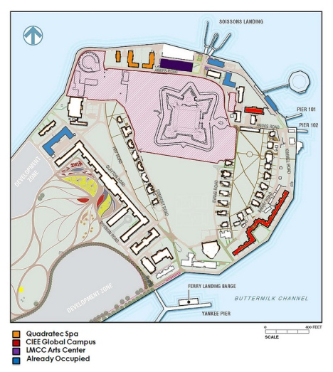 Map of Governors Island Historic District showing existing uses and available buildings