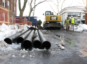Pipe ready to be laid on Governors Island. Image courtesy of The Trust.