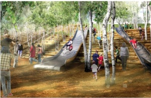 Rendering of Slide Hill. Image courtesy of the Trust.
