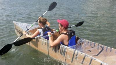 The defending champions of the Cardboard Kayak race.