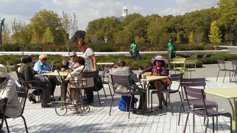 The group stayed for lunch in Liggett Terrace in the new park. Image courtesy of Age-Friendly NYC.