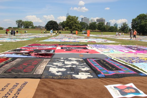 A part of the AIDS Memorial Quilt was exhibited on Governors Island. Image courtesy of the Trust.