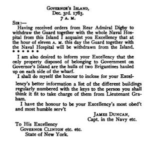 Letter from James Ducan, British Navy Captain to Governor Dewitt Clinton informing him that the British would be evacuating Governors Island