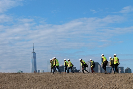 The Hills on Governors Island Jane's Walk hard hat tour, photo courtesy of CurbedNY